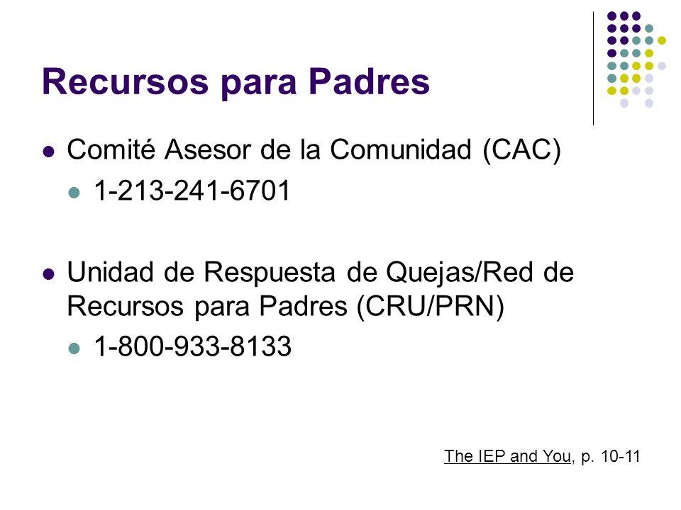 Recursos para Padres Comité Asesor de la Comunidad (CAC) 1-213-241-6701 Unidad de Respuesta de Quejas/Red de Recursos para Padres (CRU/PRN) 1-800-933-
