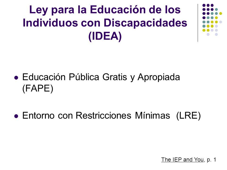 Ley para la Educación de los Individuos con Discapacidades (IDEA) Educación Pública Gratis y Apropiada (FAPE) Entorno con Restricciones Mínimas (LRE)