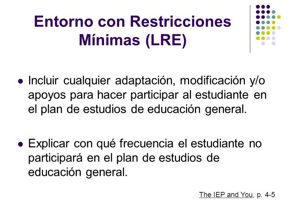 Entorno con Restricciones Mínimas (LRE) Incluir cualquier adaptación, modificación y/o apoyos para hacer participar al estudiante en el plan de estudi