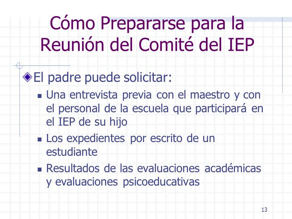 12 Cómo Prepararse para la Reunión del Comité del IEP Lleve un registro sobre las actividades de aprendizaje con su hijo Puntos fuertes/lo que le gust