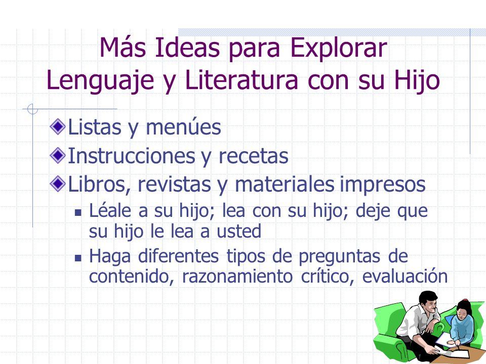 3 ¿Qué puedo hacer en Casa? Las oportunidades para aprender están por todos lados Lengua y Literatura: iEscuchar, Hablar, Leer y Escribir ¿Qué ideas t