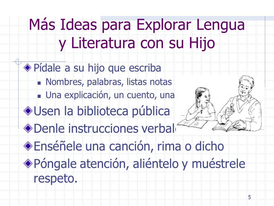 4 Más Ideas para Explorar Lenguaje y Literatura con su Hijo Listas y menúes Instrucciones y recetas Libros, revistas y materiales impresos Léale a su