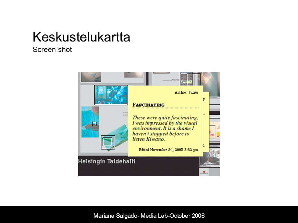 Keskustelukartta Screen shot Mariana Salgado- Media Lab-October 2006