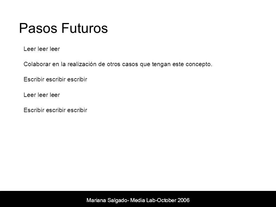 Pasos Futuros Mariana Salgado- Media Lab- November 2005 Leer leer leer Colaborar en la realización de otros casos que tengan este concepto. Escribir e