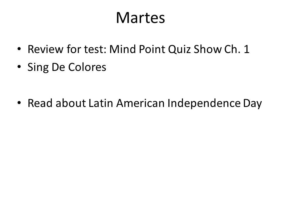 Miercoles Take test: Ch.