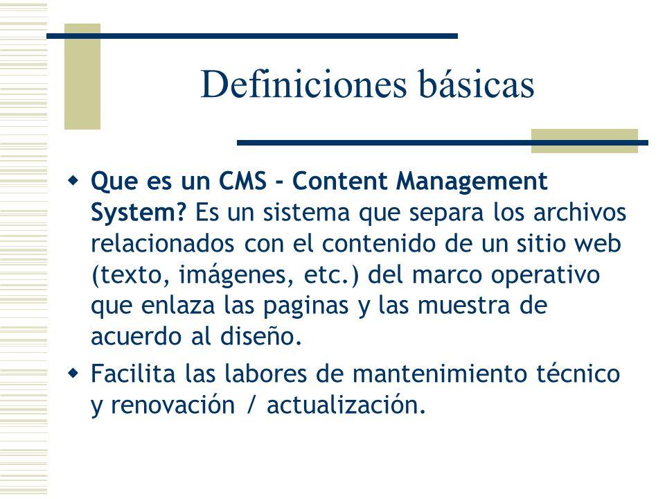 Definiciones básicas Que es un CMS - Content Management System? Es un sistema que separa los archivos relacionados con el contenido de un sitio web (t