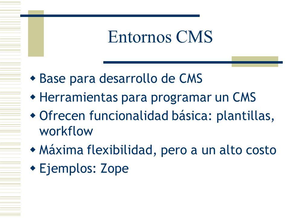 Entornos CMS Base para desarrollo de CMS Herramientas para programar un CMS Ofrecen funcionalidad básica: plantillas, workflow Máxima flexibilidad, pe