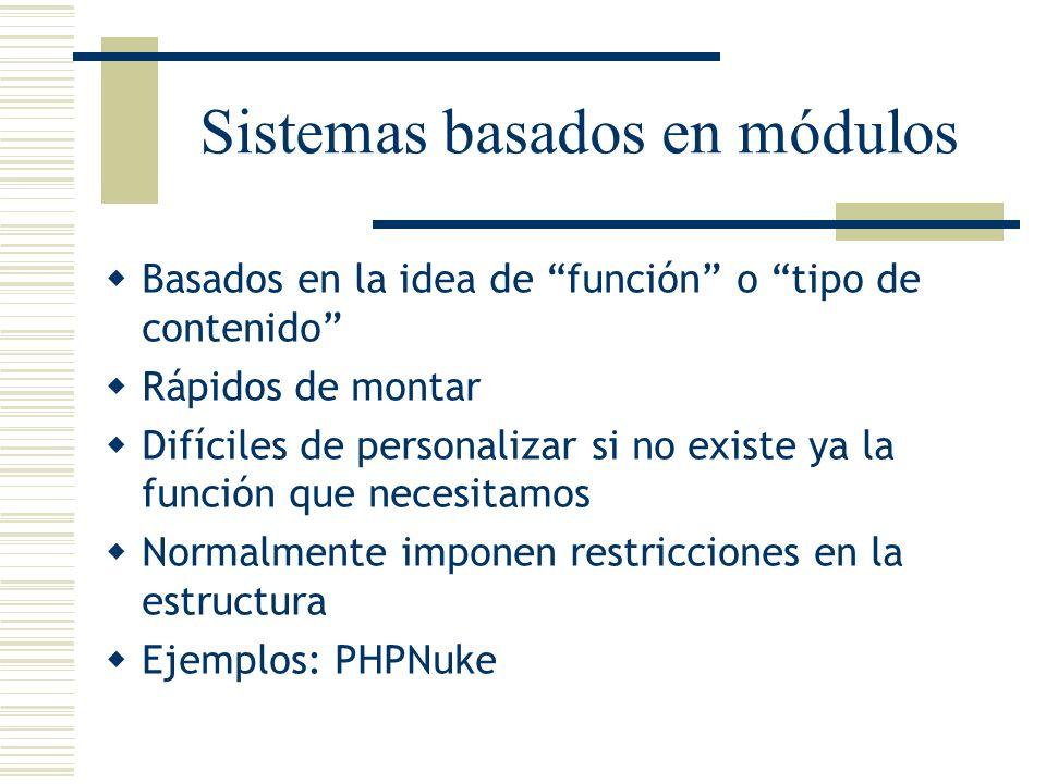 Sistemas basados en módulos Basados en la idea de función o tipo de contenido Rápidos de montar Difíciles de personalizar si no existe ya la función q