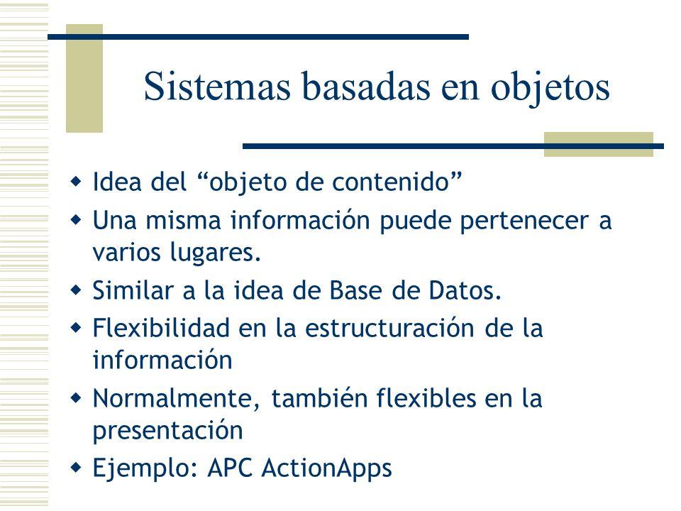 Sistemas basadas en objetos Idea del objeto de contenido Una misma información puede pertenecer a varios lugares. Similar a la idea de Base de Datos.