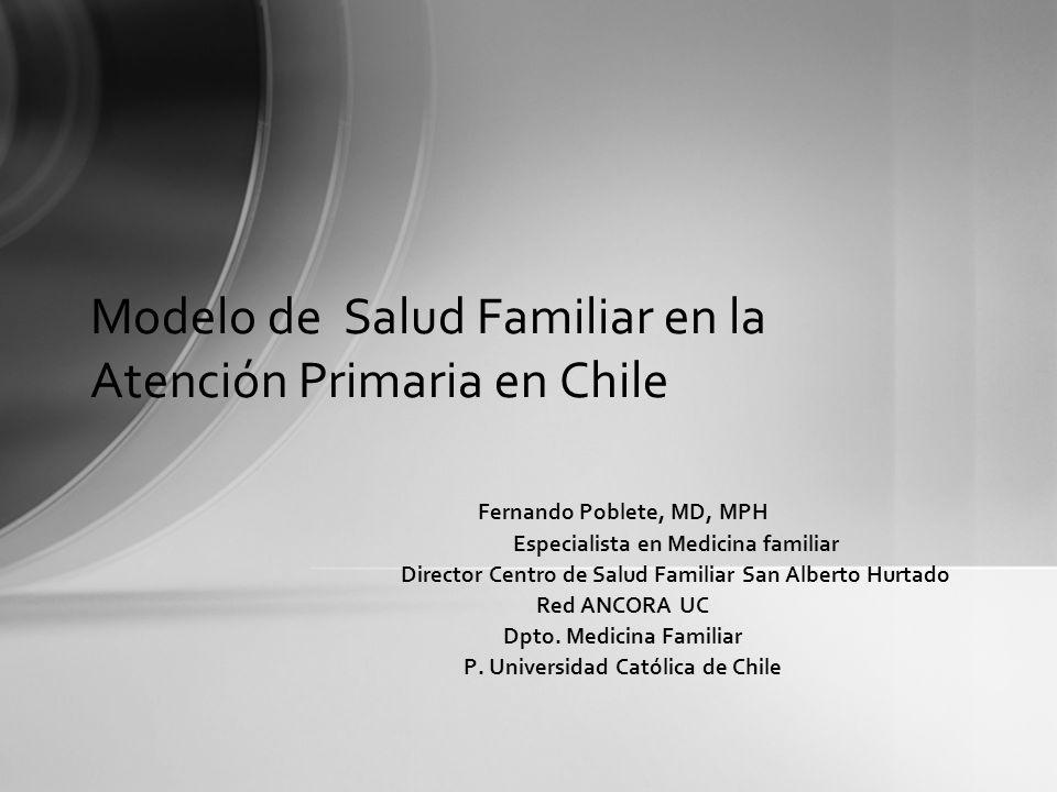 Modelo de Salud Familiar en la Atención Primaria en Chile Fernando Poblete, MD, MPH Especialista en Medicina familiar Director Centro de Salud Familia