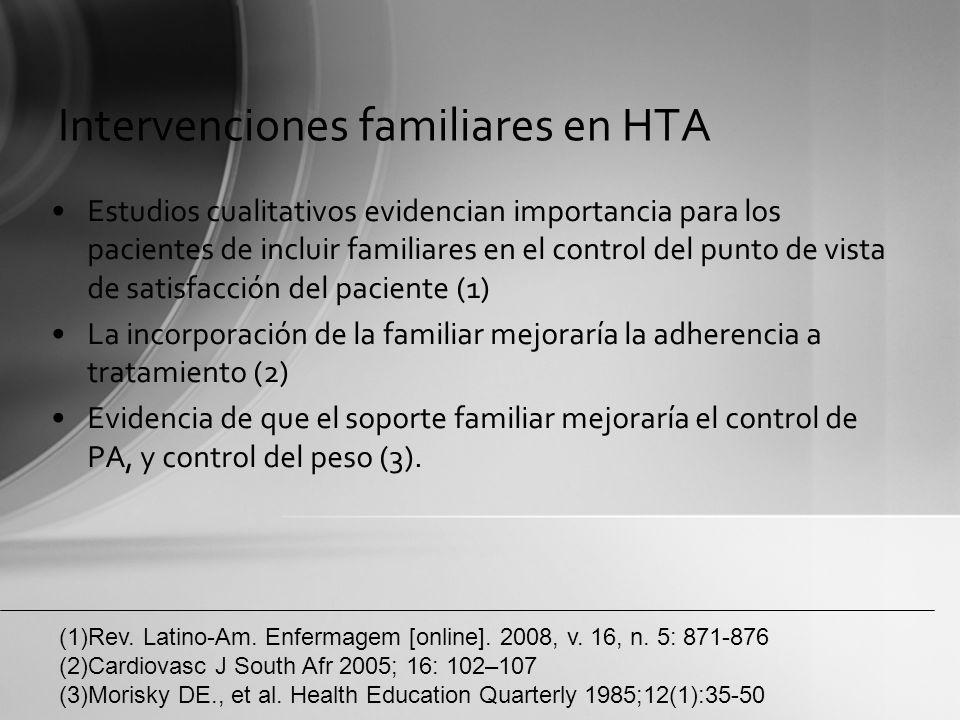 Intervenciones familiares en HTA No hay diferencia entre intervenciones grupales v/s individuales (1) La combinación de intervenciones entre educaciones grupales, individuales y con la familia no son mas costo efectivas que la intervención única (2) (1)German C.