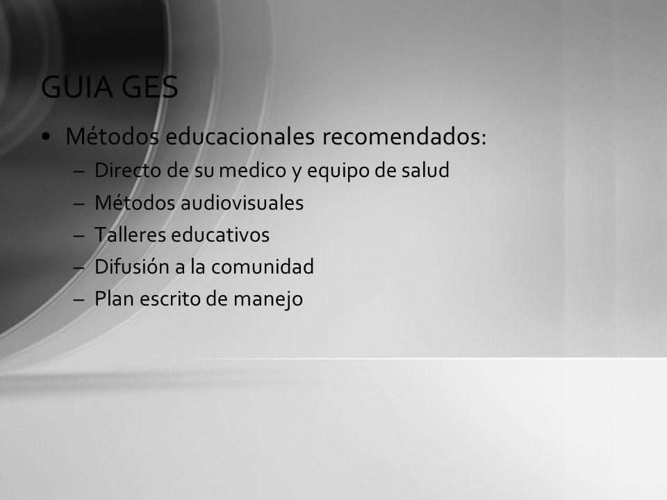 GUIA GES Contenido educacional: –Definición de asma: enfatizar cronicidad, informar sobre historia natural.