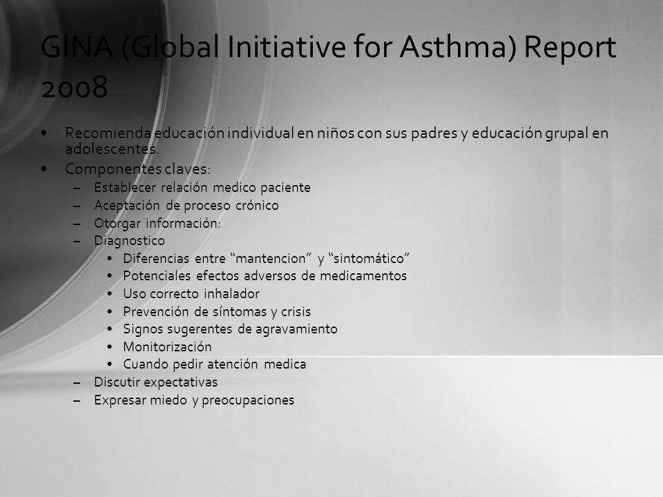 GINA (Global Initiative for Asthma) Report 2008 Recomienda educación individual en niños con sus padres y educación grupal en adolescentes. Componente