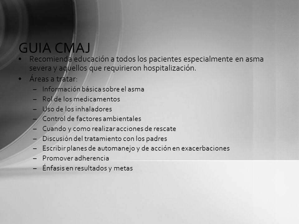 GUIA CMAJ Recomienda educación a todos los pacientes especialmente en asma severa y aquellos que requirieron hospitalización. Áreas a tratar: –Informa
