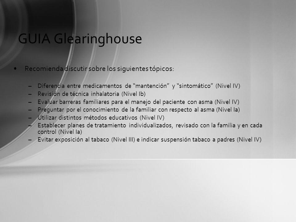 GUIA Glearinghouse Recomienda discutir sobre los siguientes tópicos: –Diferencia entre medicamentos de mantención y sintomático (Nivel IV) –Revisión d