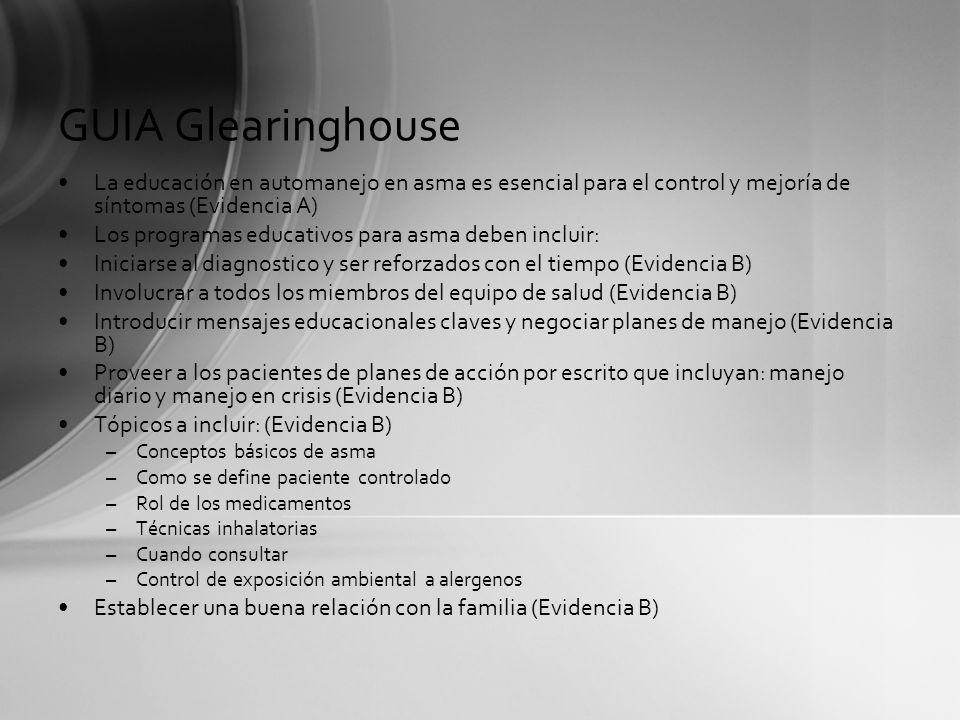 GUIA Glearinghouse La educación en automanejo en asma es esencial para el control y mejoría de síntomas (Evidencia A) Los programas educativos para as