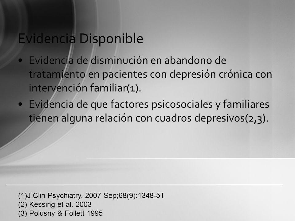Evidencia Disponible Evidencia de disminución en abandono de tratamiento en pacientes con depresión crónica con intervención familiar(1). Evidencia de