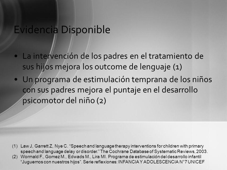 Evidencia Disponible La intervención de los padres en el tratamiento de sus hijos mejora los outcome de lenguaje (1) Un programa de estimulación tempr