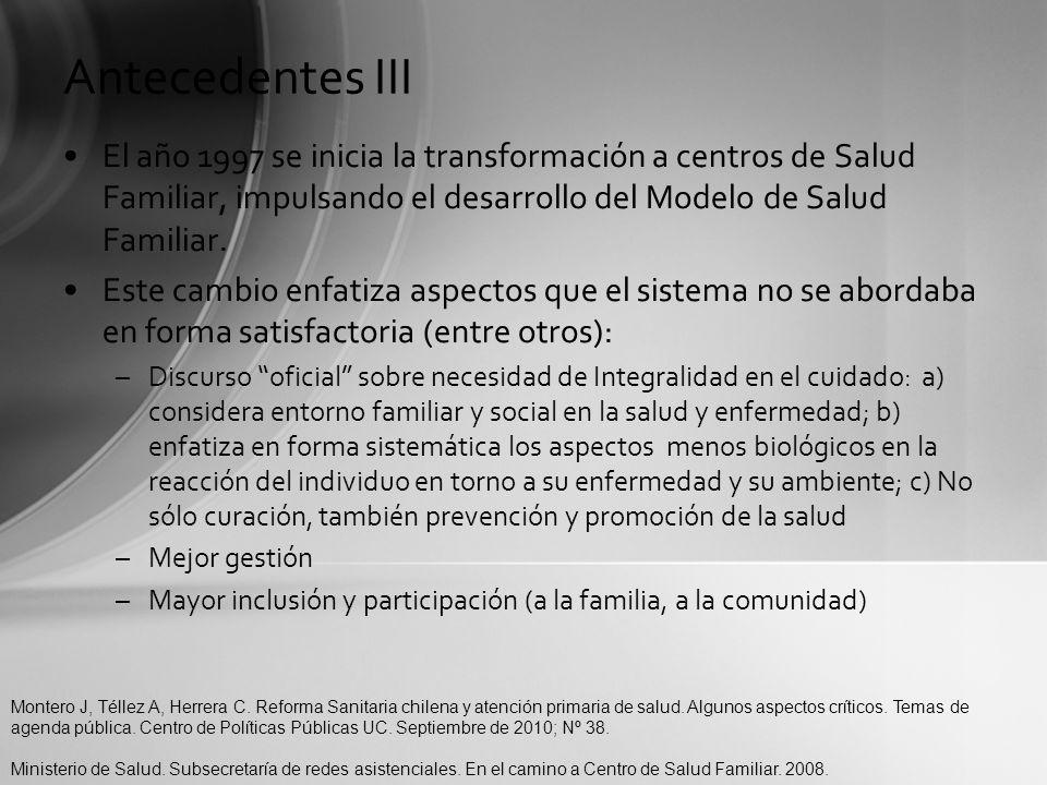 Antecedentes III El año 1997 se inicia la transformación a centros de Salud Familiar, impulsando el desarrollo del Modelo de Salud Familiar. Este camb