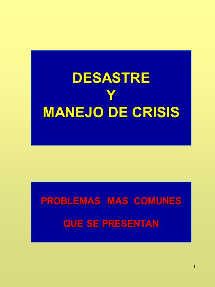 1 DESASTREY MANEJO DE CRISIS PROBLEMAS MAS COMUNES QUE SE PRESENTAN