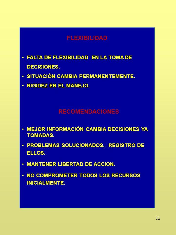 12 FLEXIBILIDAD FALTA DE FLEXIBILIDAD EN LA TOMA DE DECISIONES.