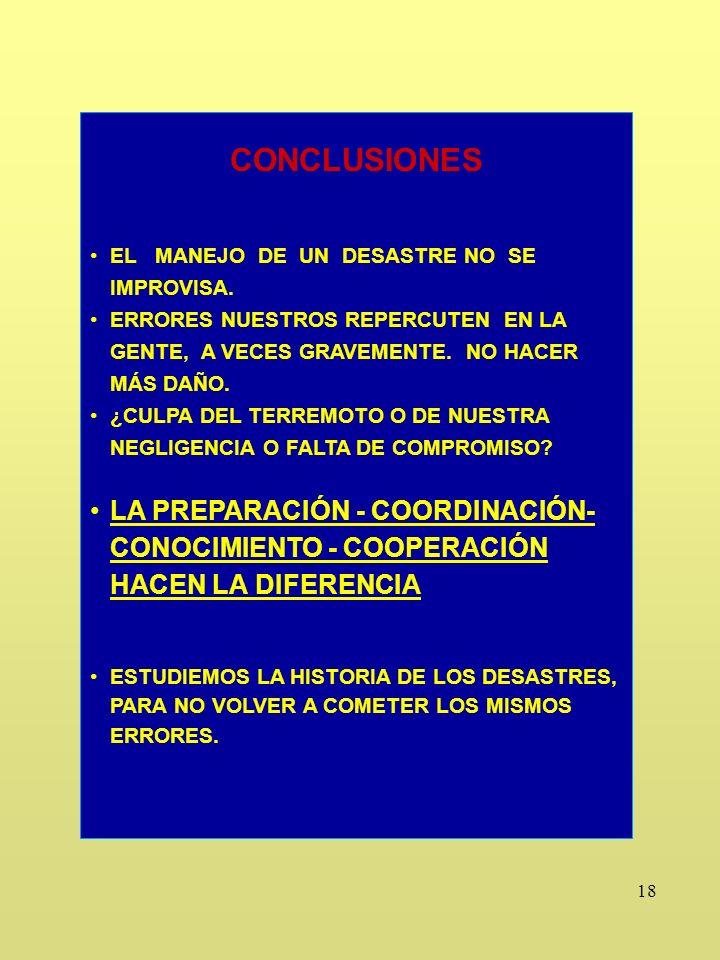 18 CONCLUSIONES EL MANEJO DE UN DESASTRE NO SE IMPROVISA.