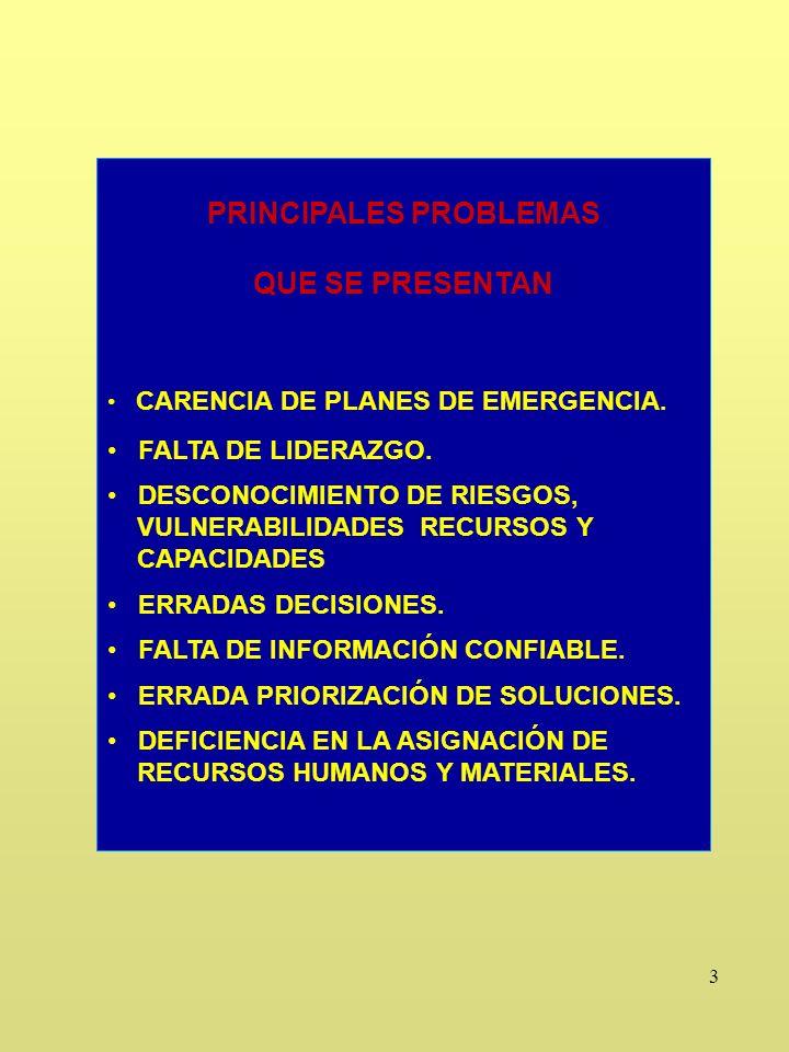 3 PRINCIPALES PROBLEMAS QUE SE PRESENTAN CARENCIA DE PLANES DE EMERGENCIA.