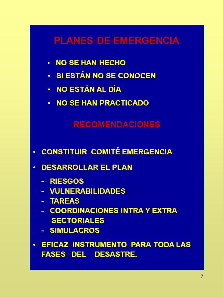16 CENTRO DE OPERACIONES DE EMERGENCIA Y SALA DE SITUACION NO CONSTITUIDO.