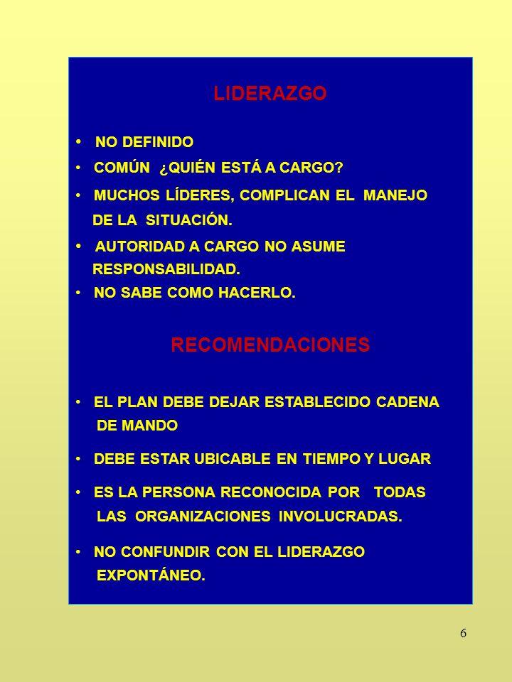 6 LIDERAZGO NO DEFINIDO COMÚN ¿QUIÉN ESTÁ A CARGO.