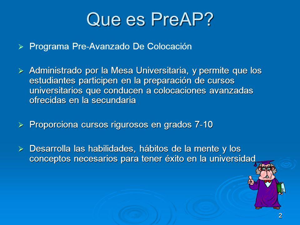 2 Que es PreAP? Programa Pre-Avanzado De Colocación Administrado por la Mesa Universitaria, y permite que los estudiantes participen en la preparación
