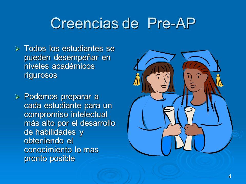 4 Creencias de Pre-AP Todos los estudiantes se pueden desempeñar en niveles académicos rigurosos Todos los estudiantes se pueden desempeñar en niveles