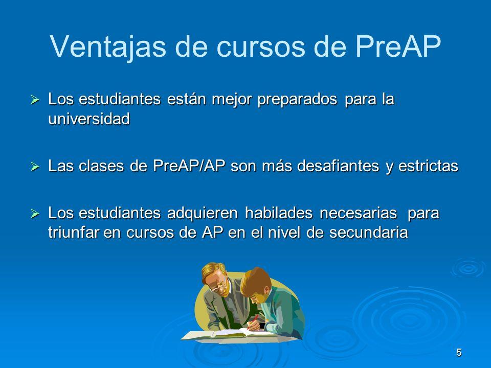 5 Ventajas de cursos de PreAP Los estudiantes están mejor preparados para la universidad Los estudiantes están mejor preparados para la universidad Las clases de PreAP/AP son más desafiantes y estrictas Las clases de PreAP/AP son más desafiantes y estrictas Los estudiantes adquieren habilades necesarias para triunfar en cursos de AP en el nivel de secundaria Los estudiantes adquieren habilades necesarias para triunfar en cursos de AP en el nivel de secundaria