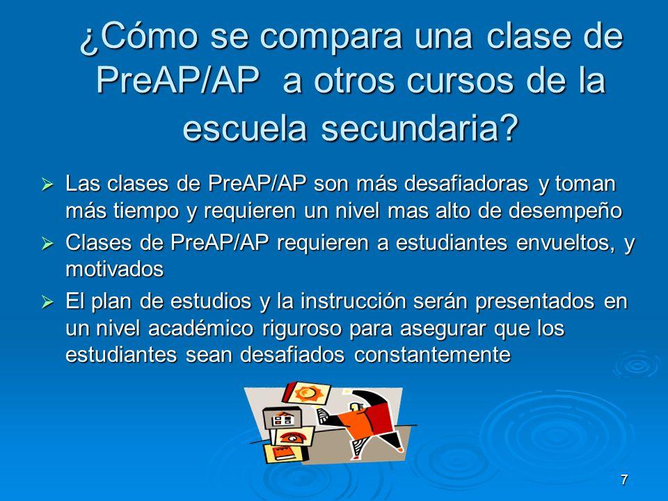 7 ¿Cómo se compara una clase de PreAP/AP a otros cursos de la escuela secundaria? Las clases de PreAP/AP son más desafiadoras y toman más tiempo y req