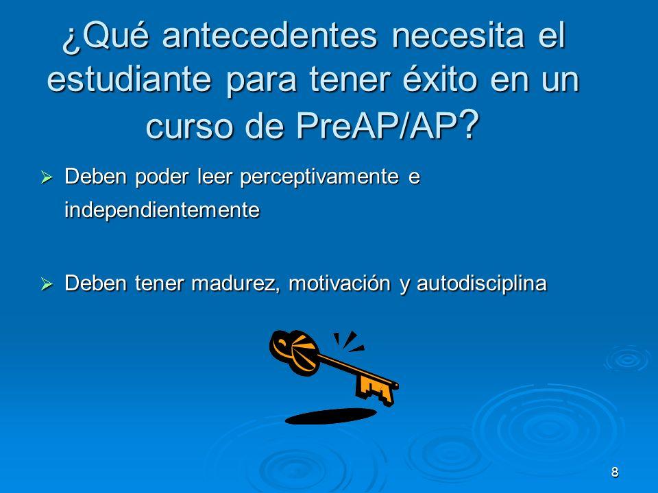 8 ¿Qué antecedentes necesita el estudiante para tener éxito en un curso de PreAP/AP .