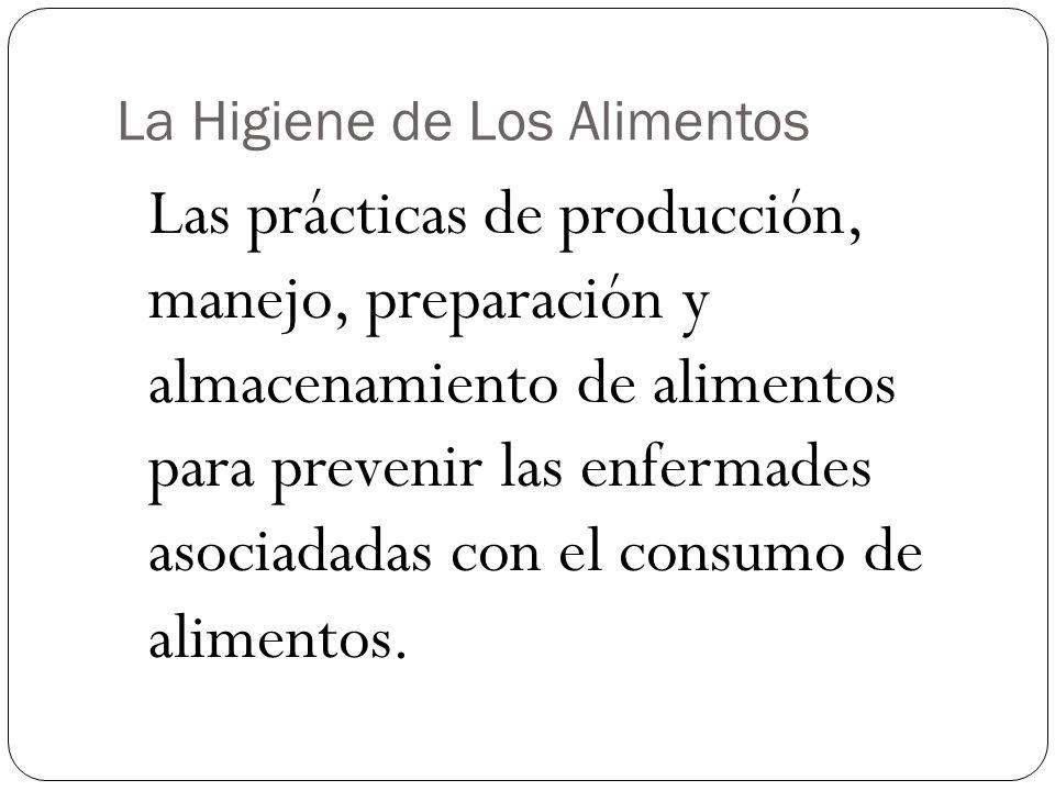 La Higiene de Los Alimentos Las prácticas de producción, manejo, preparación y almacenamiento de alimentos para prevenir las enfermades asociadadas co