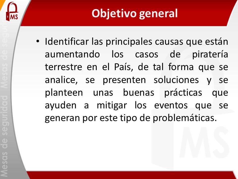Objetivo general Identificar las principales causas que están aumentando los casos de piratería terrestre en el País, de tal forma que se analice, se