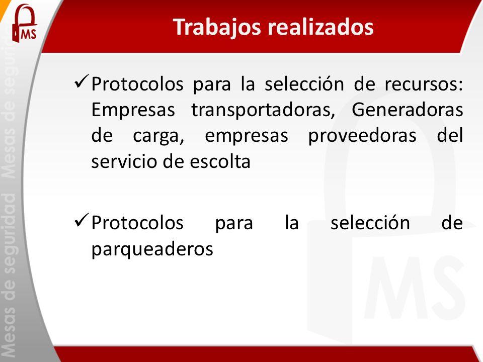Trabajos realizados Protocolos para la selección de recursos: Empresas transportadoras, Generadoras de carga, empresas proveedoras del servicio de esc