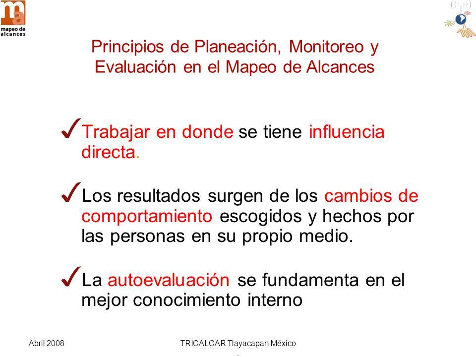 Abril 2008TRICALCAR Tlayacapan México. Trabajar en donde se tiene influencia directa.