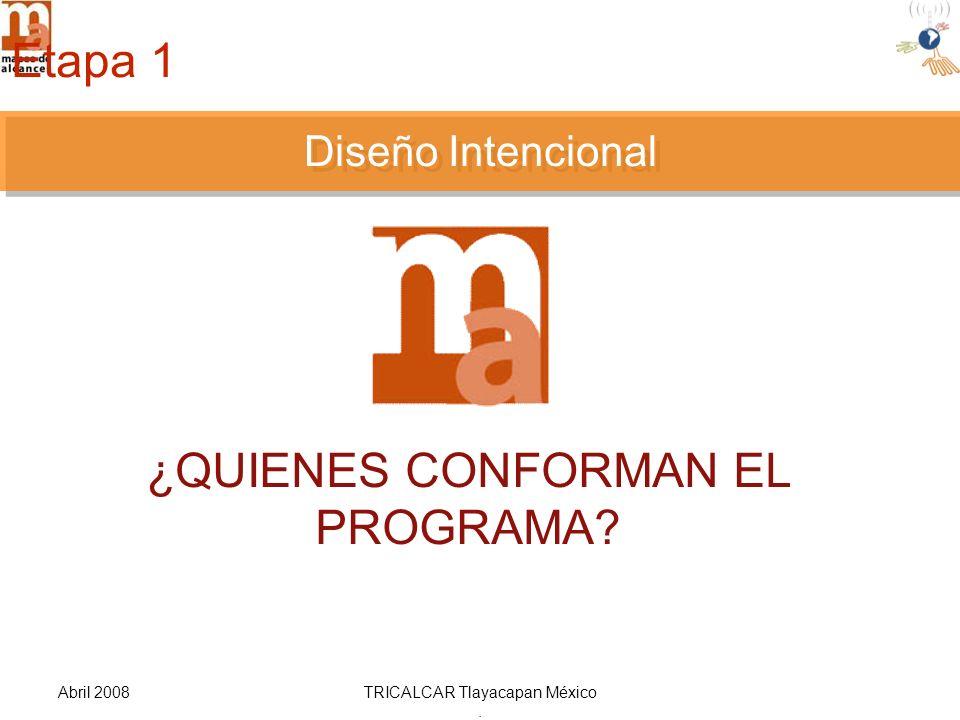 Abril 2008TRICALCAR Tlayacapan México. DISEÑO INTENCIONAL ¿QUIENES CONFORMAN EL PROGRAMA.