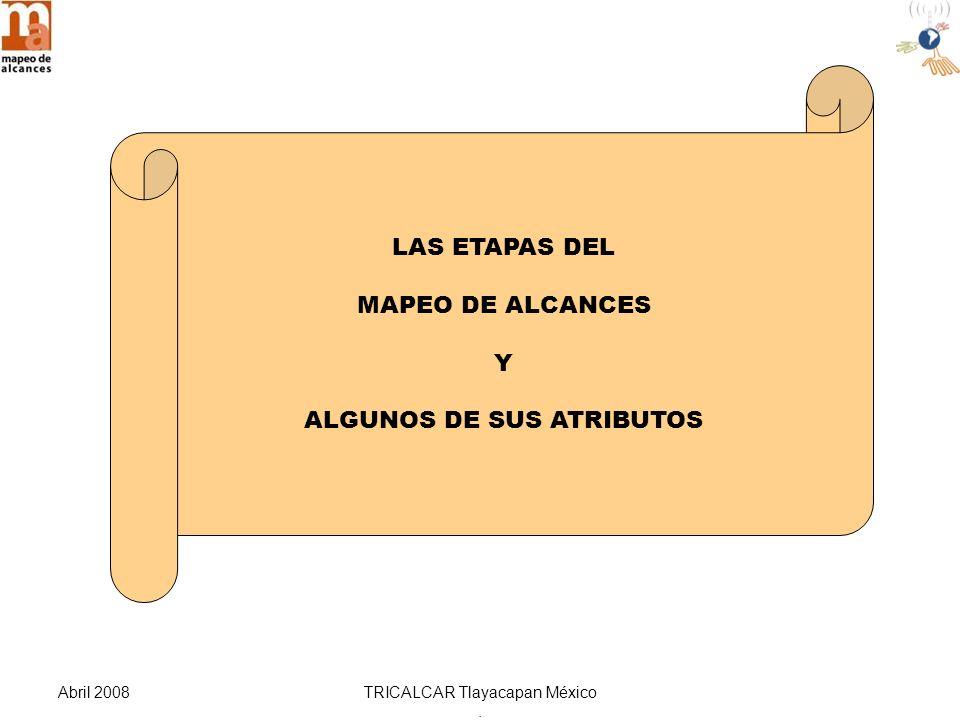 Abril 2008TRICALCAR Tlayacapan México. LAS ETAPAS DEL MAPEO DE ALCANCES Y ALGUNOS DE SUS ATRIBUTOS