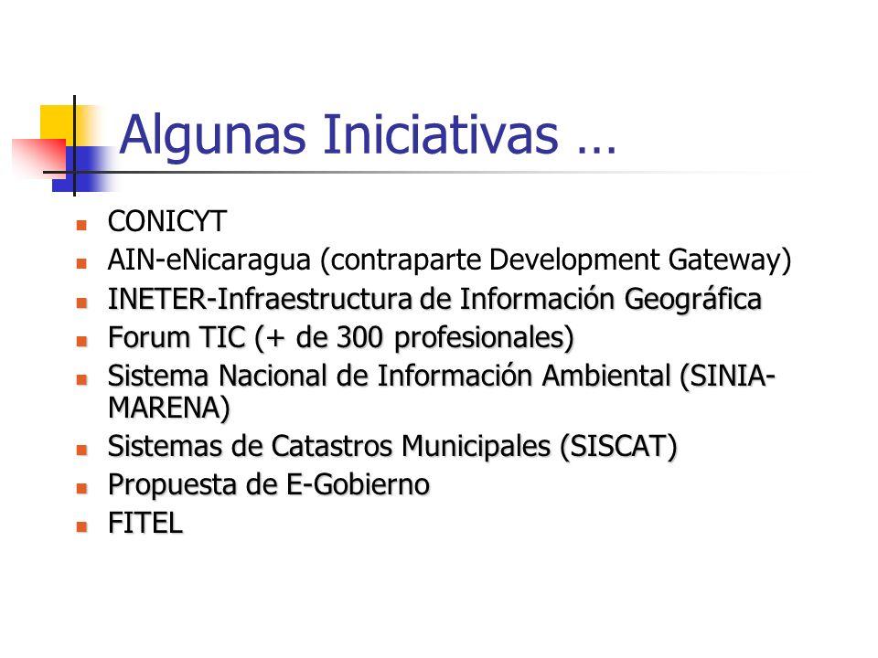 Algunas Iniciativas … CONICYT AIN-eNicaragua (contraparte Development Gateway) INETER-Infraestructura de Información Geográfica INETER-Infraestructura