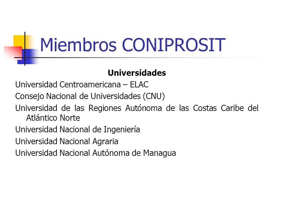 Miembros CONIPROSIT Universidades Universidad Centroamericana – ELAC Consejo Nacional de Universidades (CNU) Universidad de las Regiones Autónoma de l