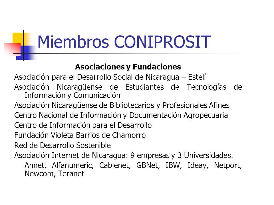 Miembros CONIPROSIT Asociaciones y Fundaciones Asociación para el Desarrollo Social de Nicaragua – Estelí Asociación Nicaragüense de Estudiantes de Te