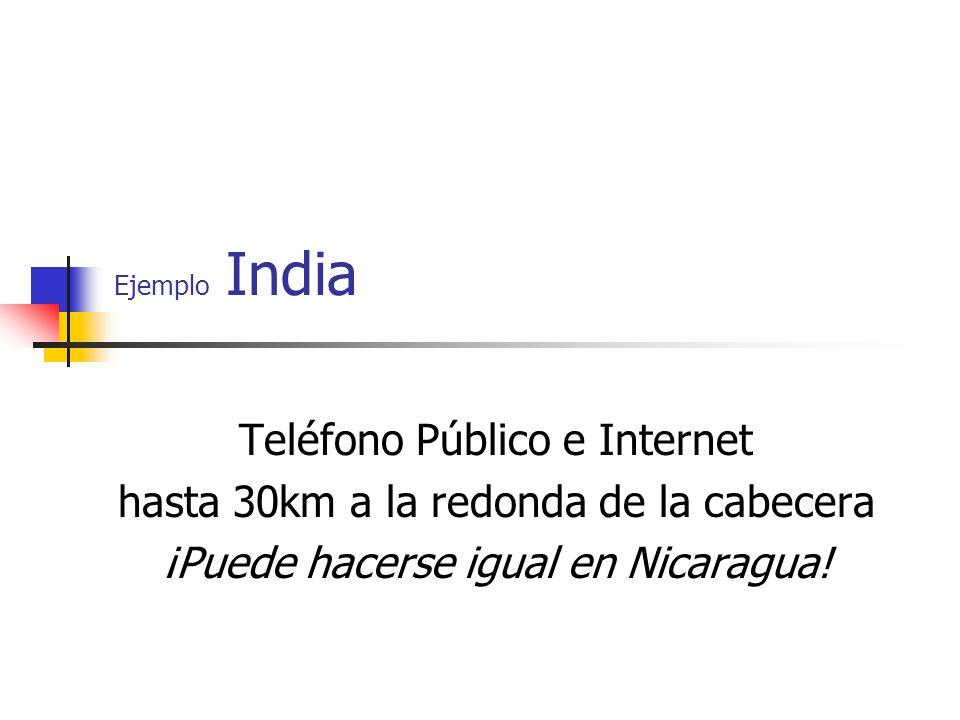 Ejemplo India Teléfono Público e Internet hasta 30km a la redonda de la cabecera ¡Puede hacerse igual en Nicaragua!