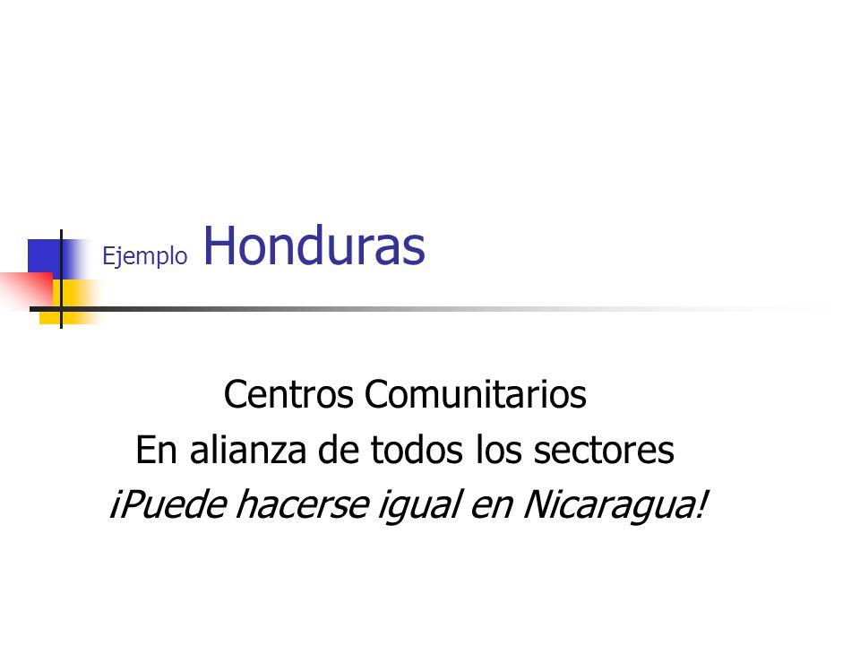 Ejemplo Honduras Centros Comunitarios En alianza de todos los sectores ¡Puede hacerse igual en Nicaragua!