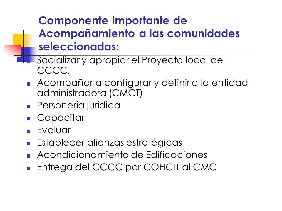 Componente importante de Acompañamiento a las comunidades seleccionadas: Socializar y apropiar el Proyecto local del CCCC. Acompañar a configurar y de