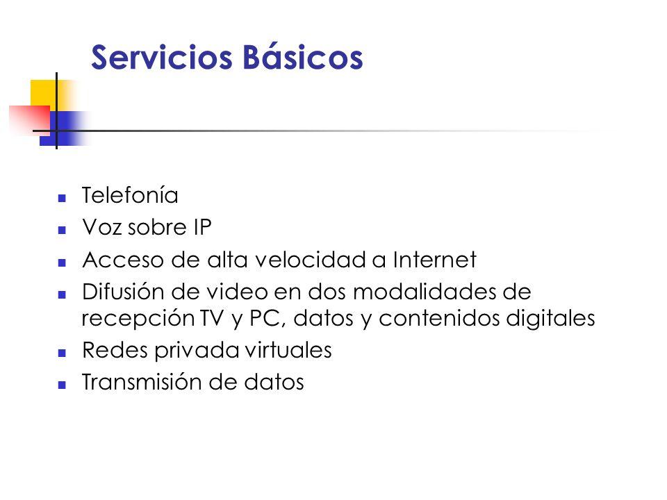 Servicios Básicos Telefonía Voz sobre IP Acceso de alta velocidad a Internet Difusión de video en dos modalidades de recepción TV y PC, datos y conten