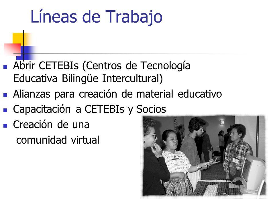 Líneas de Trabajo Abrir CETEBIs (Centros de Tecnología Educativa Bilingüe Intercultural) Alianzas para creación de material educativo Capacitación a C