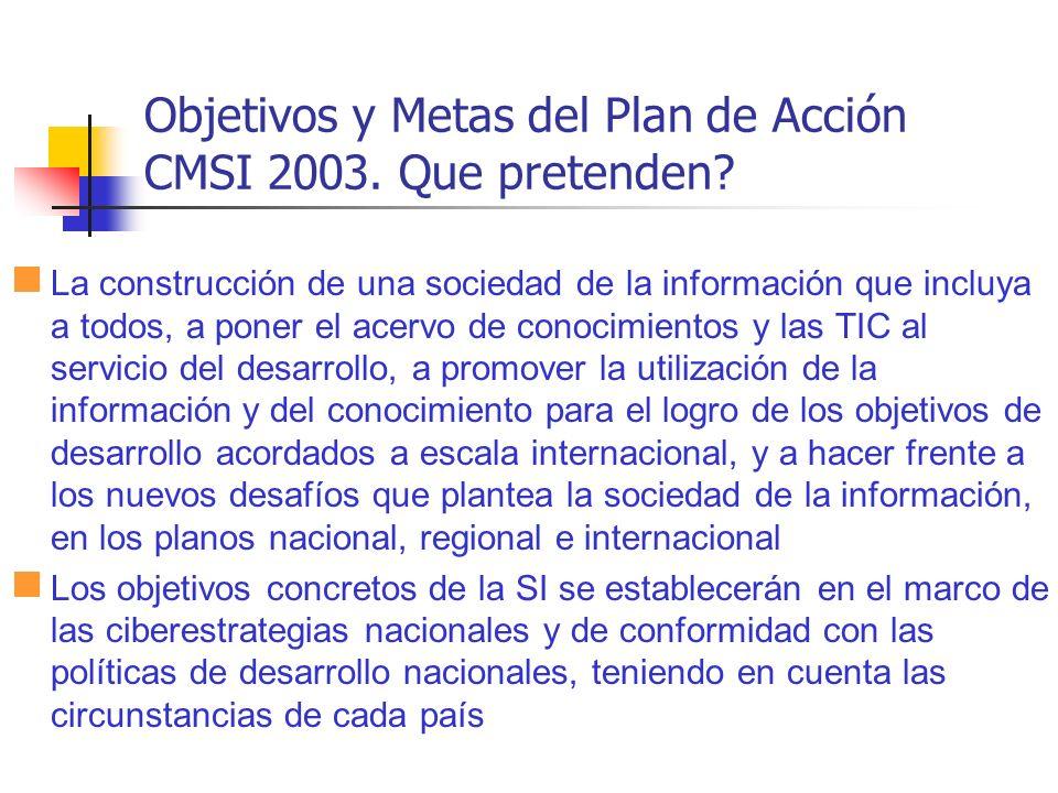 Objetivos y Metas del Plan de Acción CMSI 2003. Que pretenden? La construcción de una sociedad de la información que incluya a todos, a poner el acerv