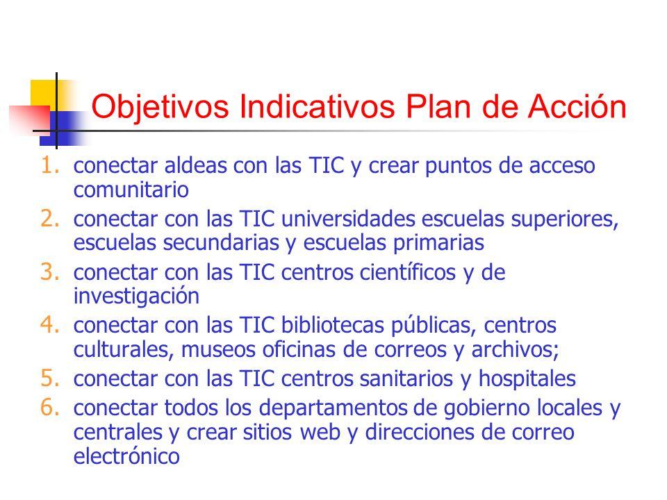 Objetivos Indicativos Plan de Acción 1. conectar aldeas con las TIC y crear puntos de acceso comunitario 2. conectar con las TIC universidades escuela